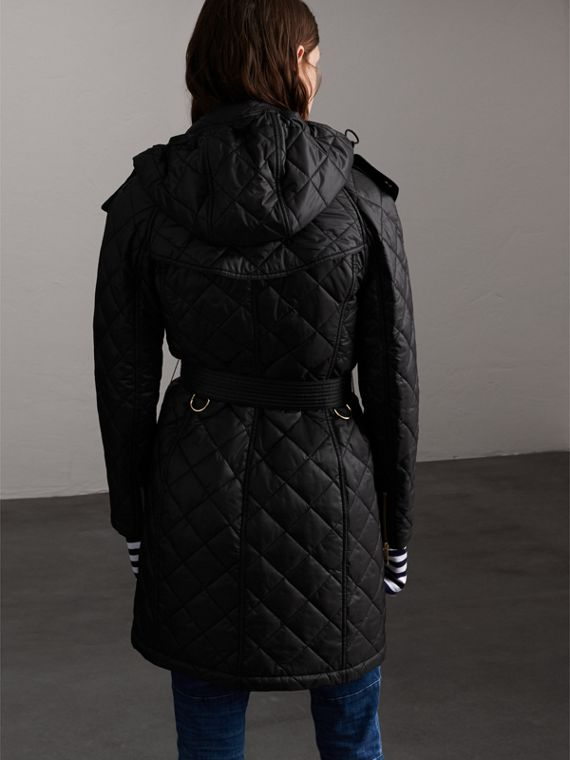 Detachable Hood Quilted Showerproof Parka in Black - Women | Burberry - cell image 2