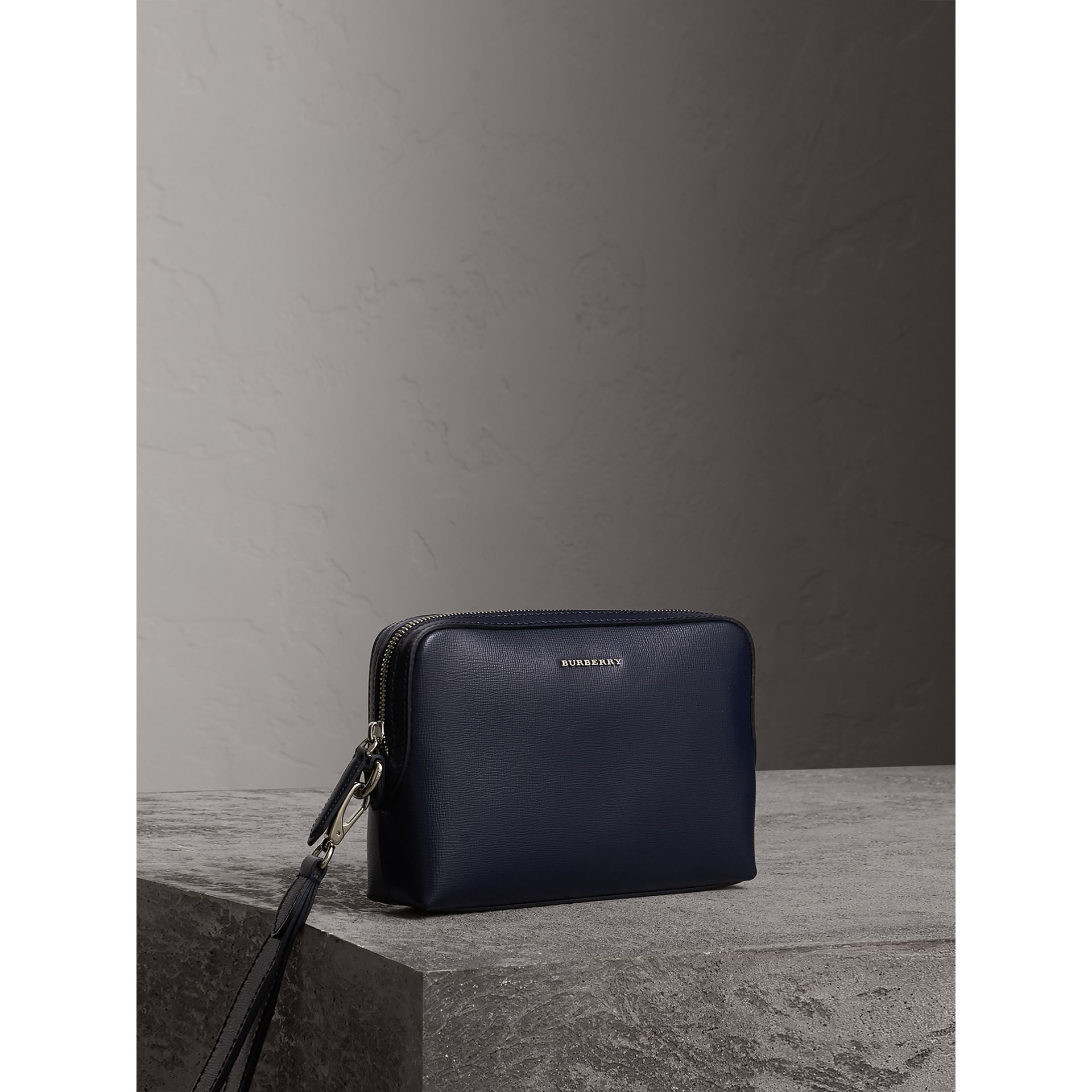 London Leather Pouch in Dark Navy - Men | Burberry - gallery image 5