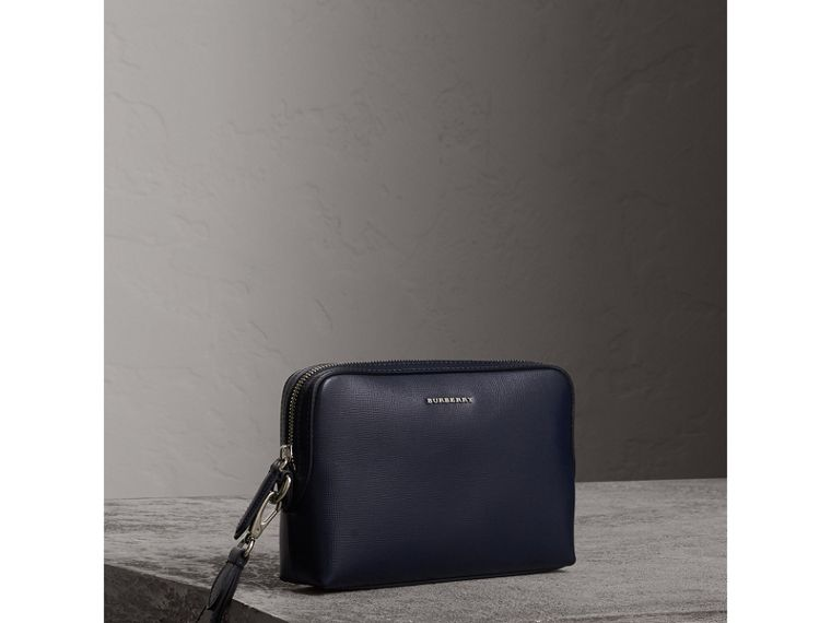 London Leather Pouch in Dark Navy - Men | Burberry - cell image 4
