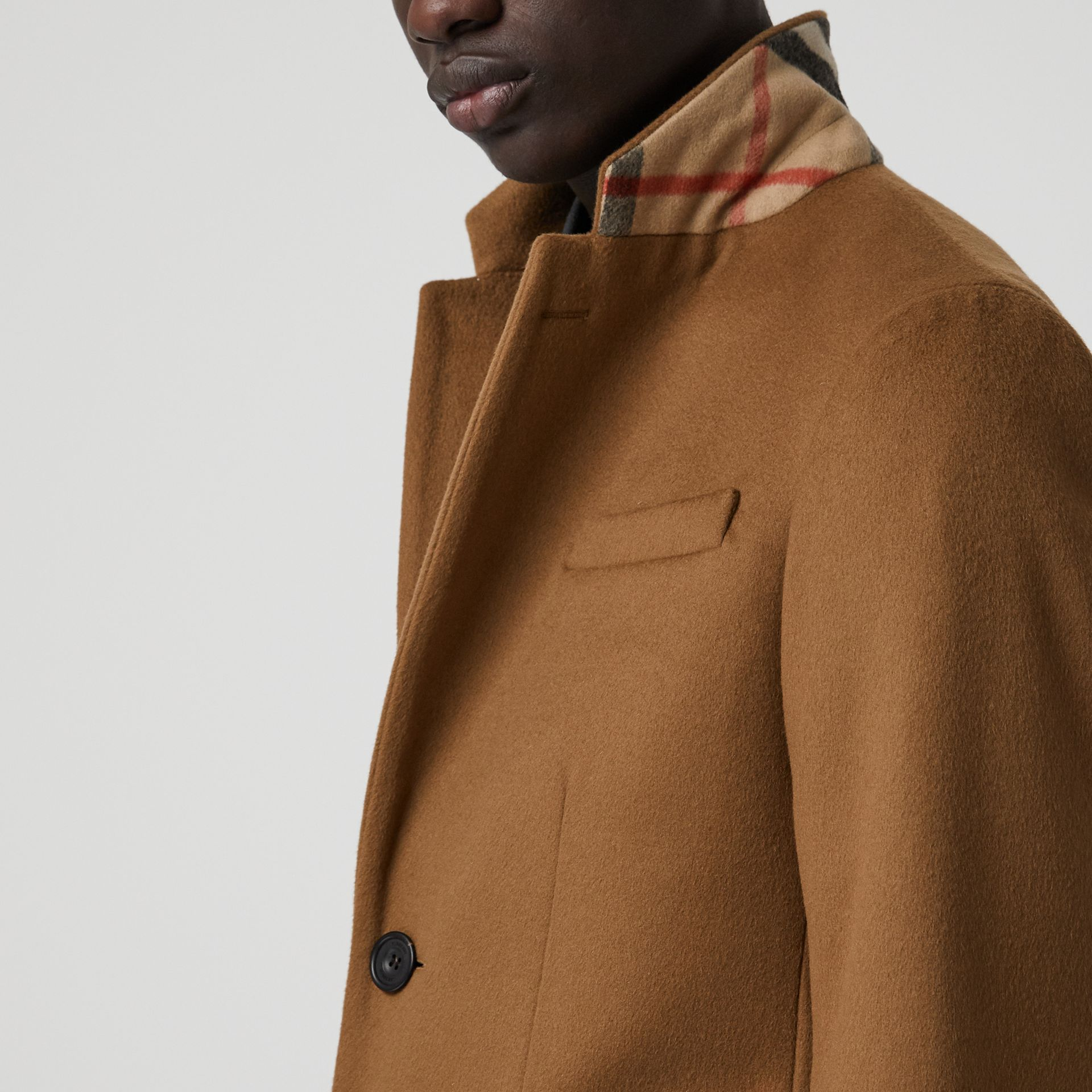 Wool Cashmere Tailored Coat in Dark Camel - Men | Burberry Australia - gallery image 1