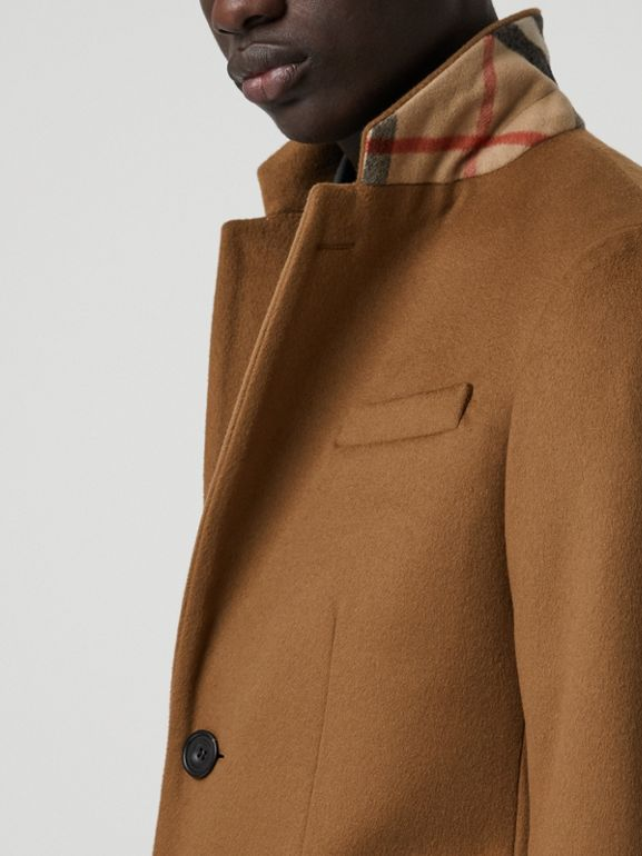 Wool Cashmere Tailored Coat in Dark Camel - Men | Burberry Australia - cell image 1