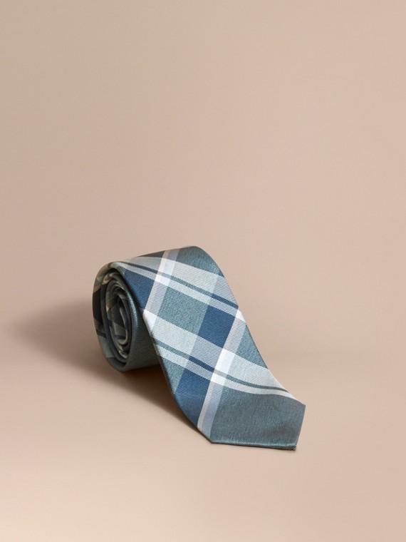 Modern Cut Check Jacquard Silk Tie in Pale Celadon - Men | Burberry