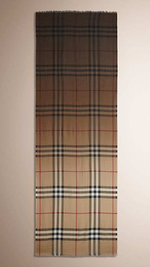Camel check Lightweight Check Ombre Wool Silk Scarf - Image 3