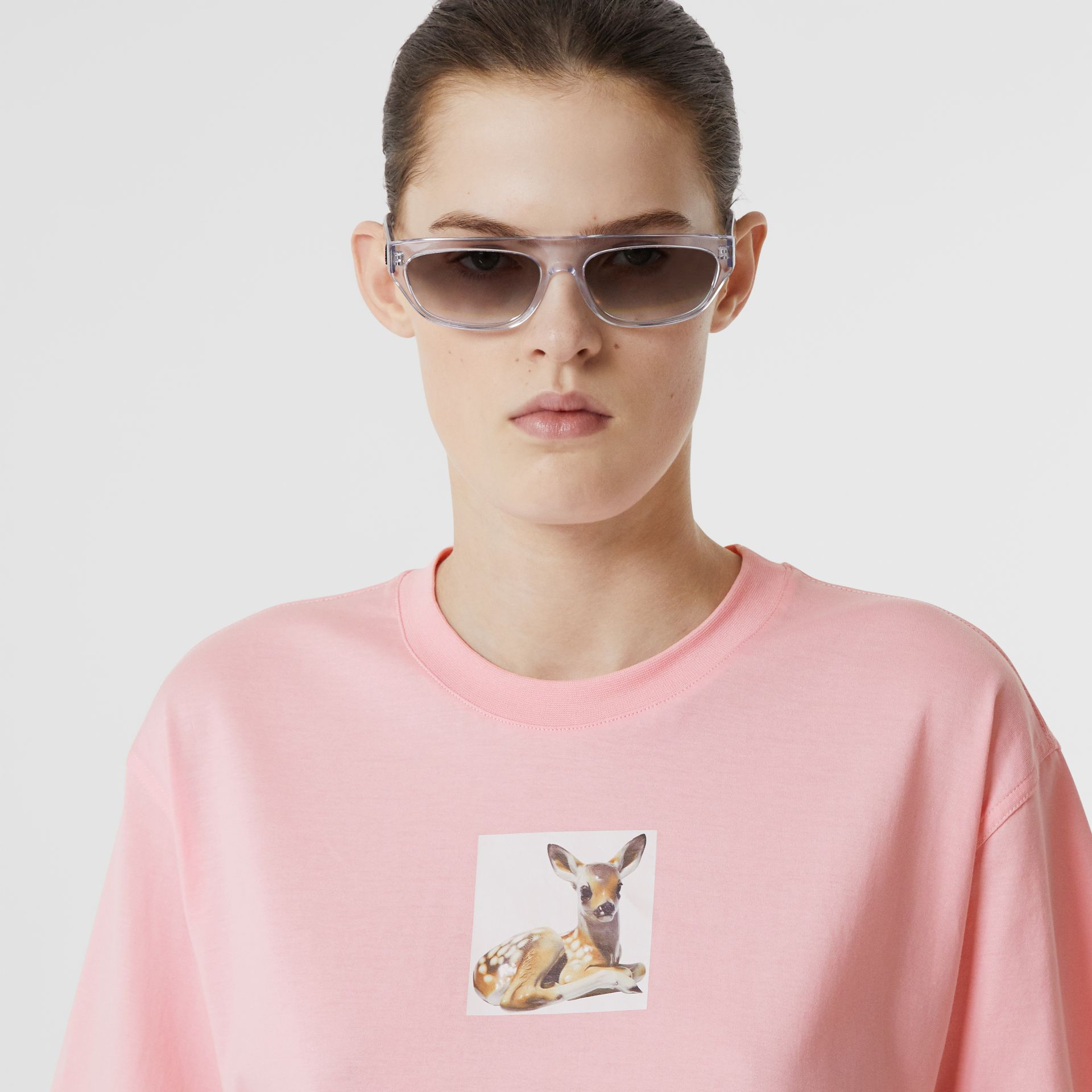 Deer Print Cotton T-shirt in Candy Pink - Women | Burberry United Kingdom - gallery image 1