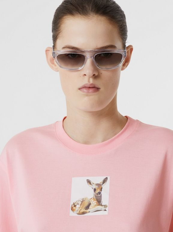 Deer Print Cotton T-shirt in Candy Pink - Women | Burberry United Kingdom - cell image 1