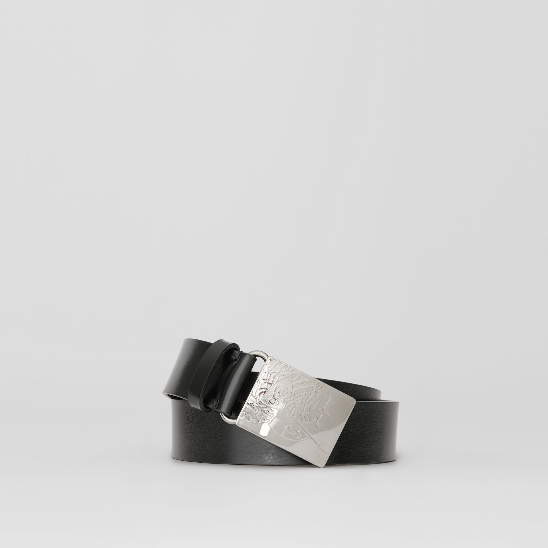 EKD Plaque Buckle Leather Belt in Black - Men | Burberry Singapore - gallery image 0