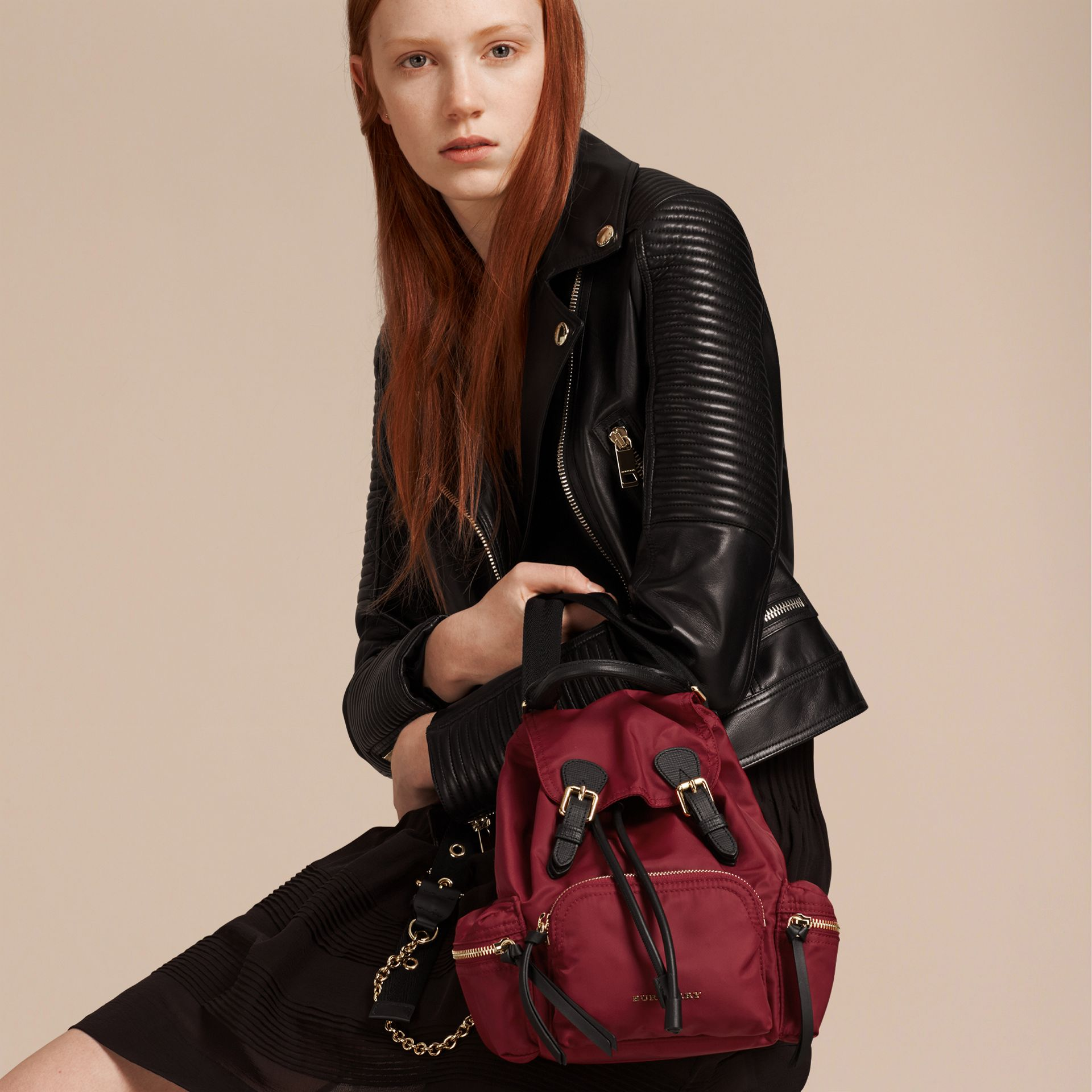 The Small Rucksack in Technical Nylon and Leather in Parade Red - Women | Burberry Singapore - gallery image 3
