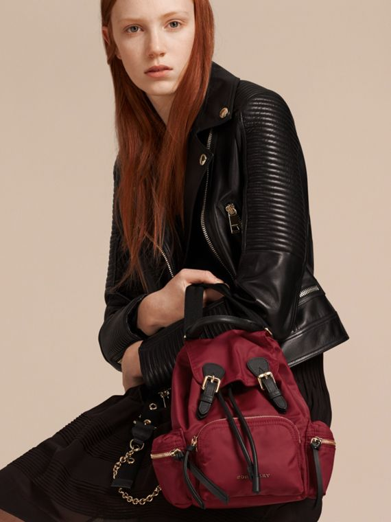 The Small Rucksack in Technical Nylon and Leather Parade Red - cell image 2