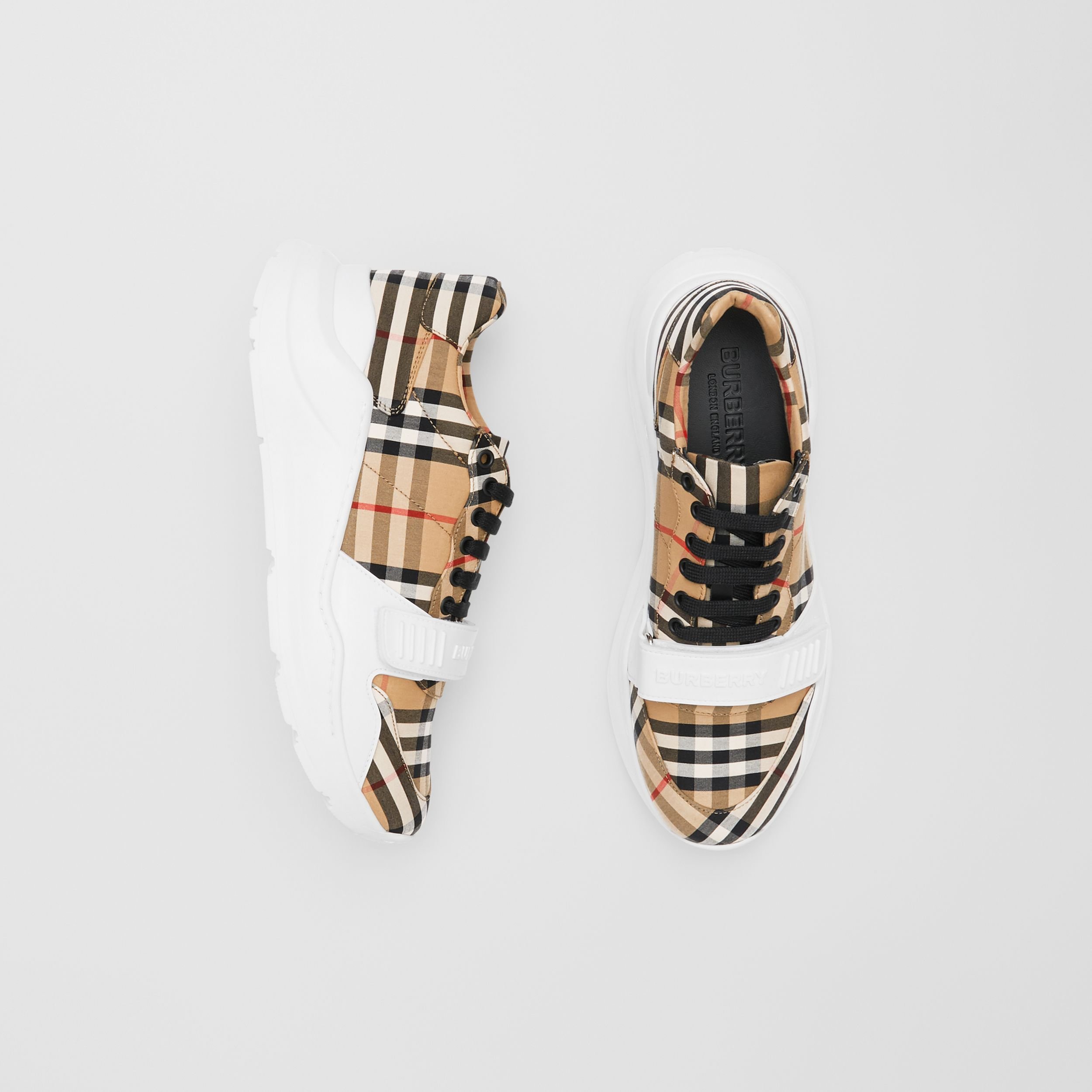 Vintage Check Cotton Sneakers in Archive Beige - Men | Burberry Hong Kong S.A.R. - 1