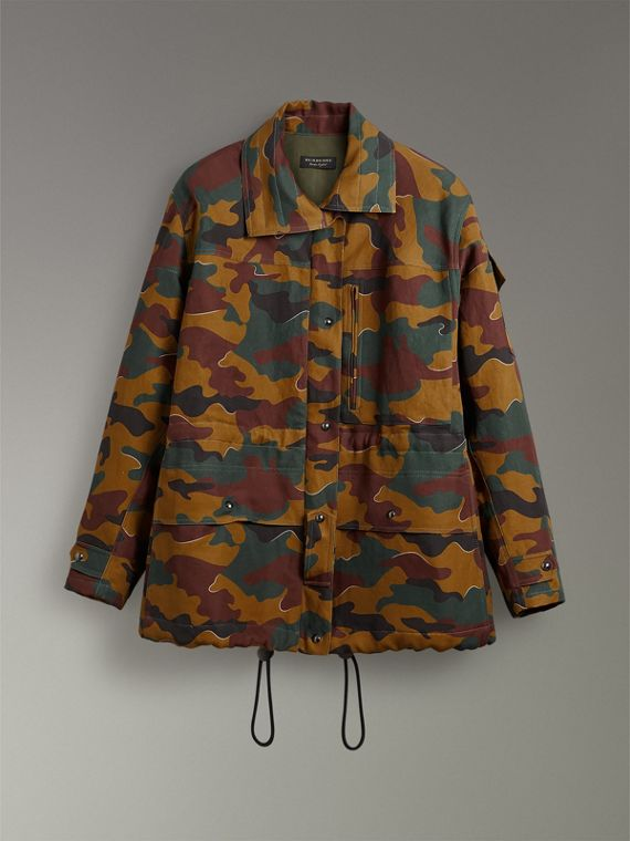 Boyfriend Fit Camouflage Print Jacket in Ochre Green - Women | Burberry Australia - cell image 3