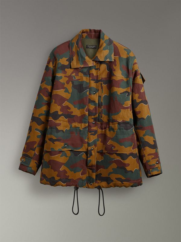 Boyfriend Fit Camouflage Print Jacket in Ochre Green - Women | Burberry - cell image 3