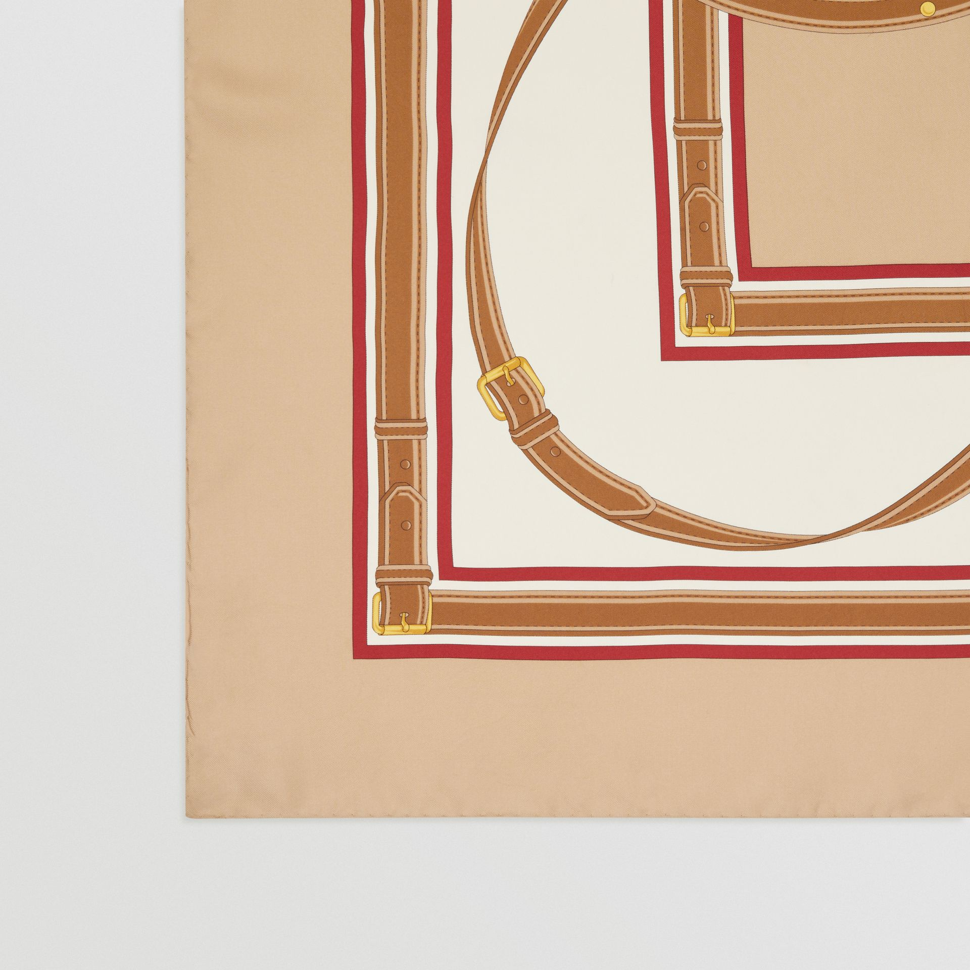 Archive Scarf Print Silk Square Scarf in Pale Camel | Burberry United Kingdom - gallery image 1