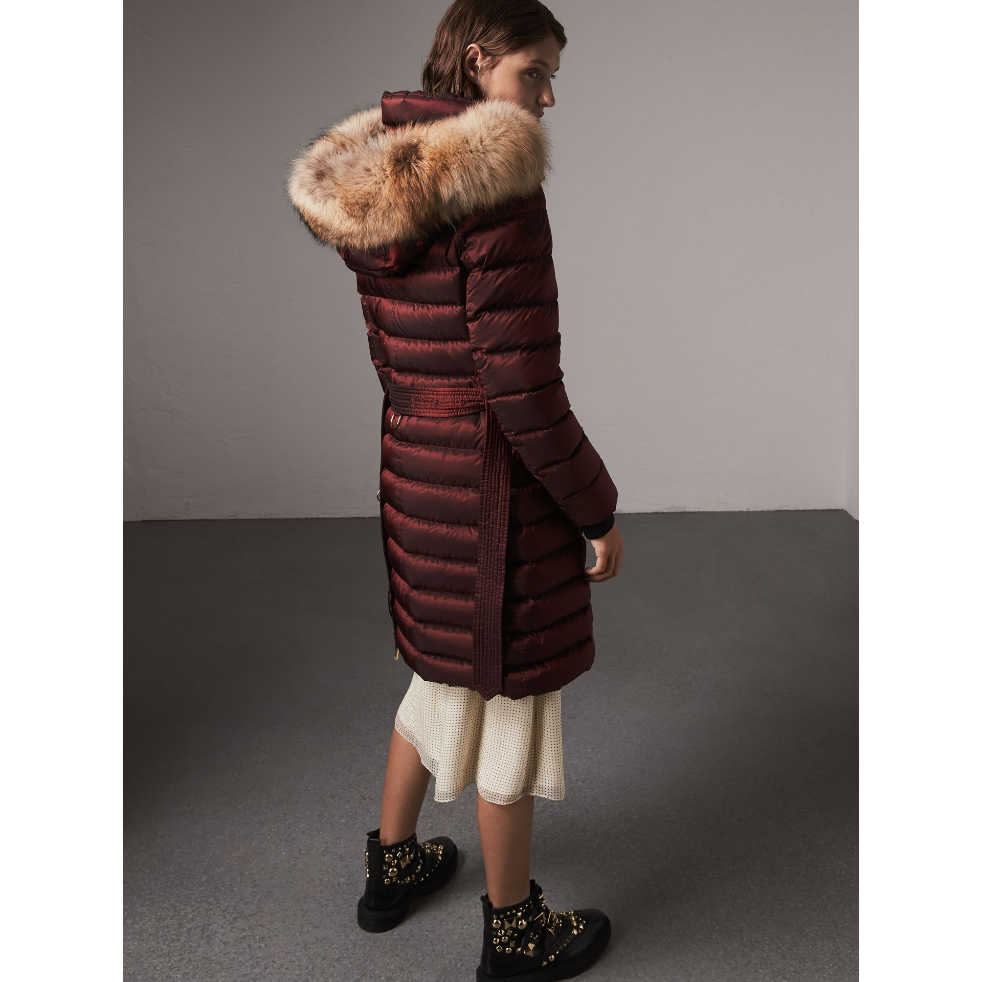 Detachable Fur Trim Down-filled Puffer Coat with Hood in Burgundy - Women | Burberry - gallery image 3