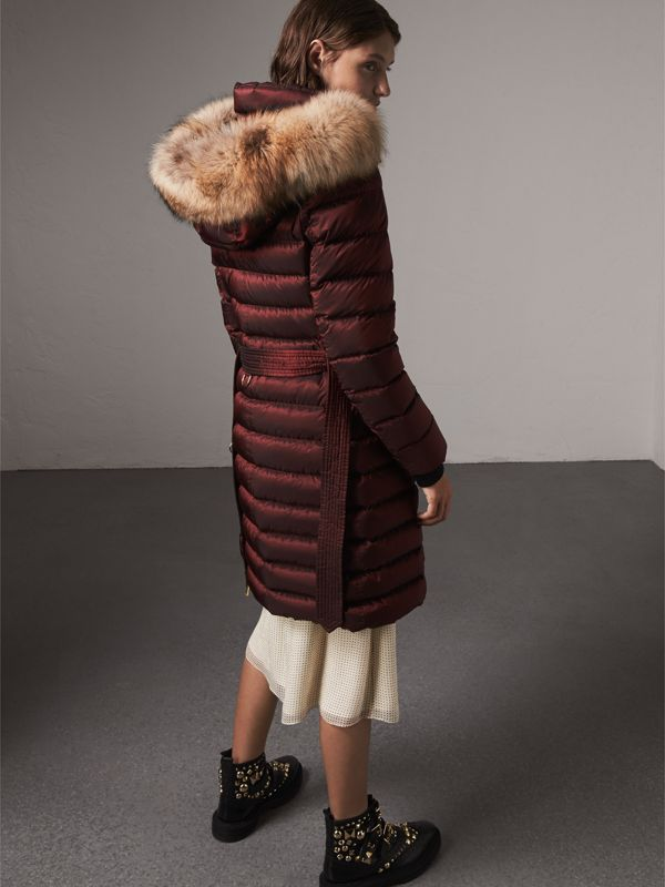 Detachable Fur Trim Down-filled Puffer Coat with Hood in Burgundy - Women | Burberry - cell image 2