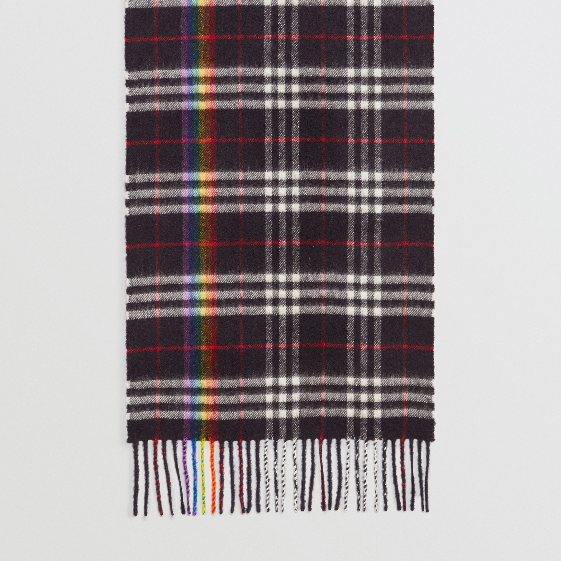The Classic Rainbow Check Cashmere Scarf in Navy/rainbow | Burberry Australia - gallery image 6