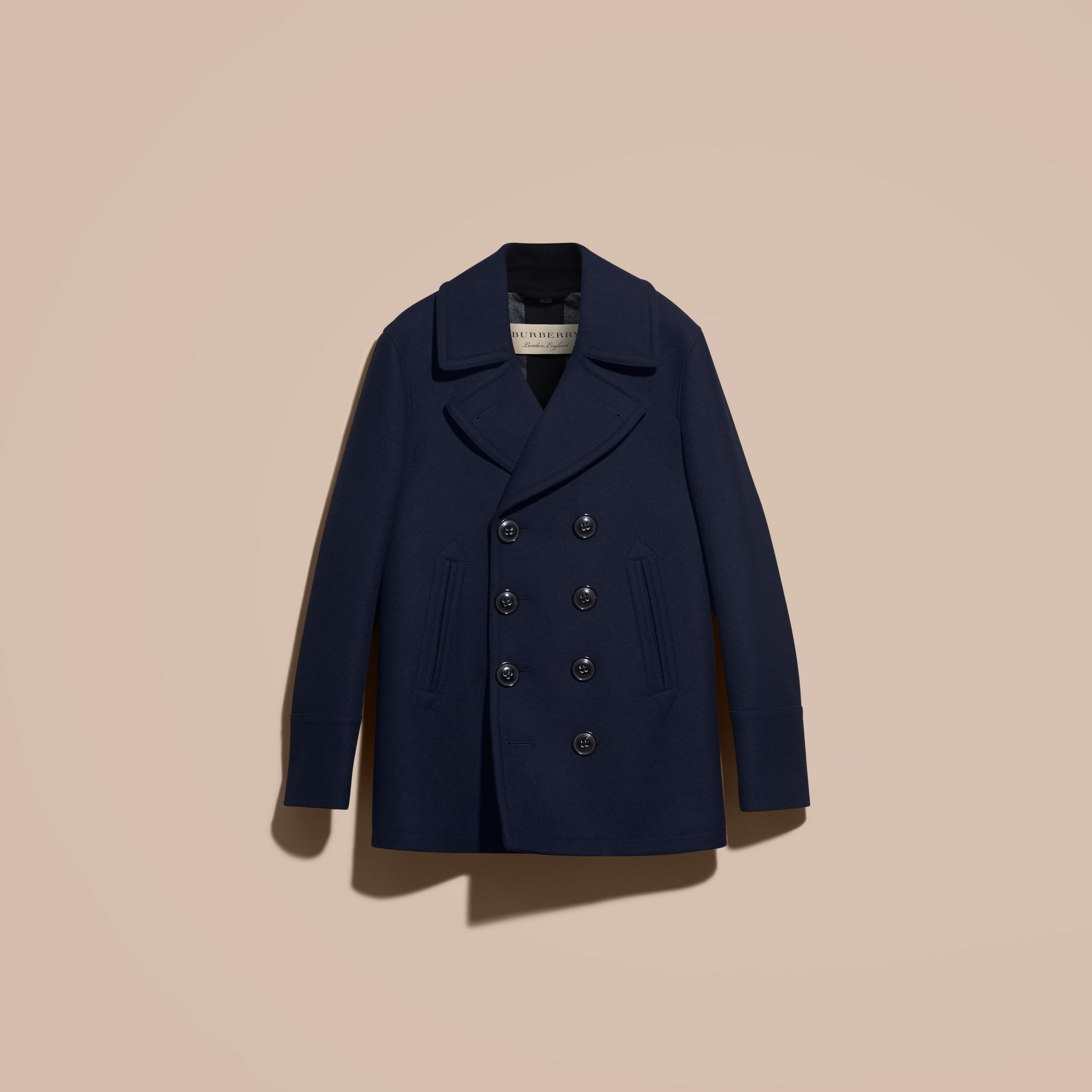 Wool Cashmere Pea Coat in Navy - gallery image 4