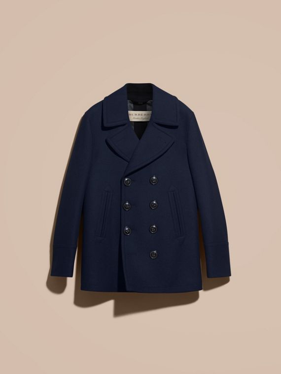Wool Cashmere Pea Coat in Navy - cell image 3