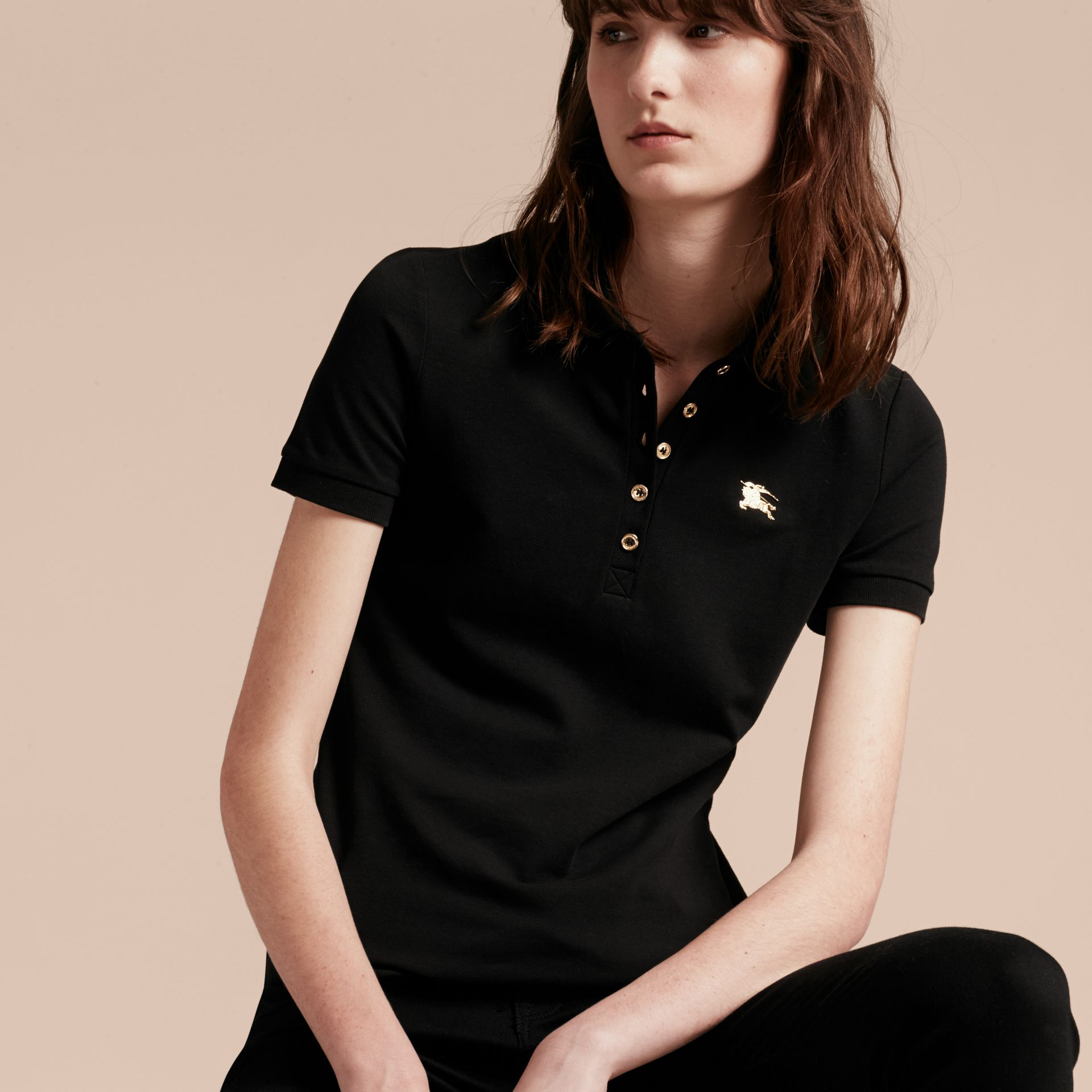 Black Stretch Cotton Piqué Polo Shirt Black - gallery image 1
