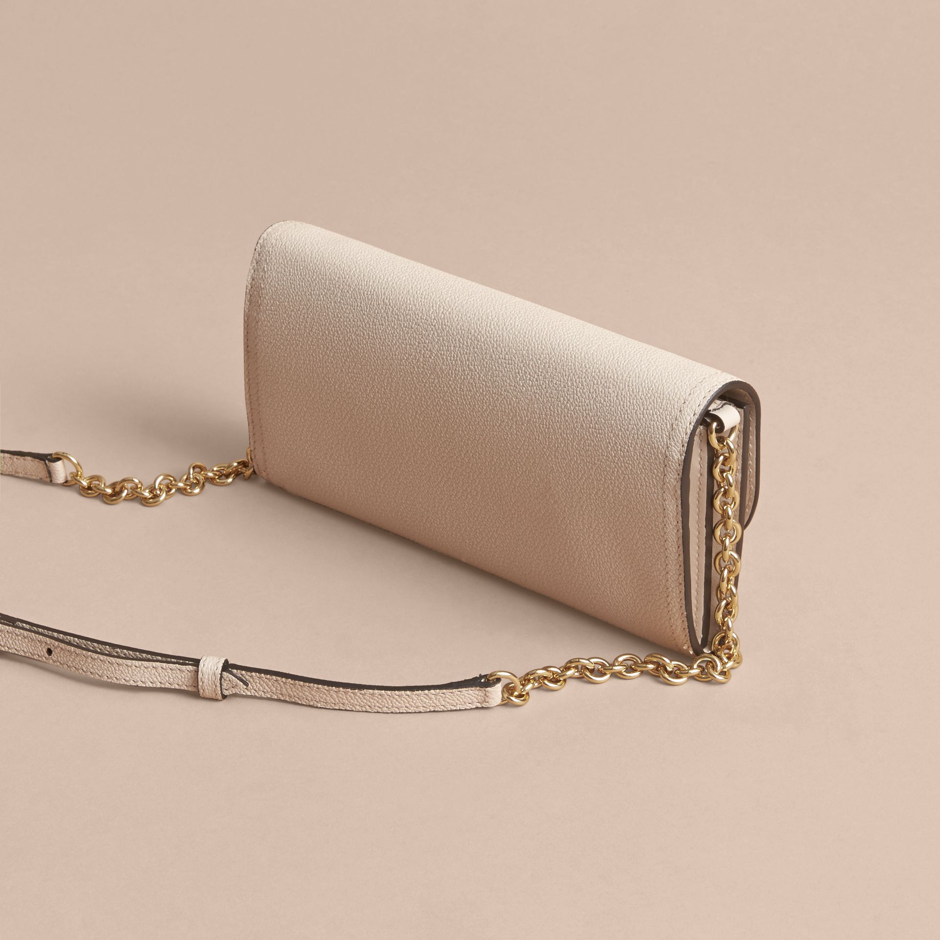 Leather Wallet with Chain in Limestone - Women | Burberry - gallery image 4