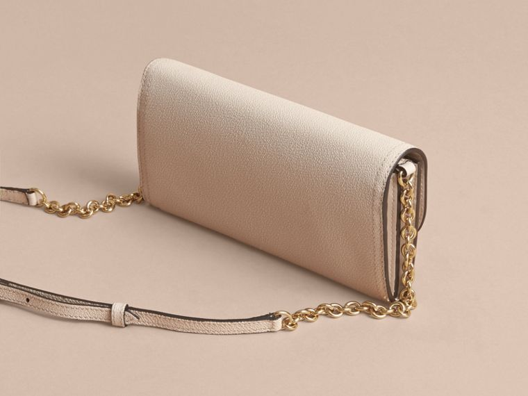 Leather Wallet with Chain in Limestone - Women | Burberry - cell image 4