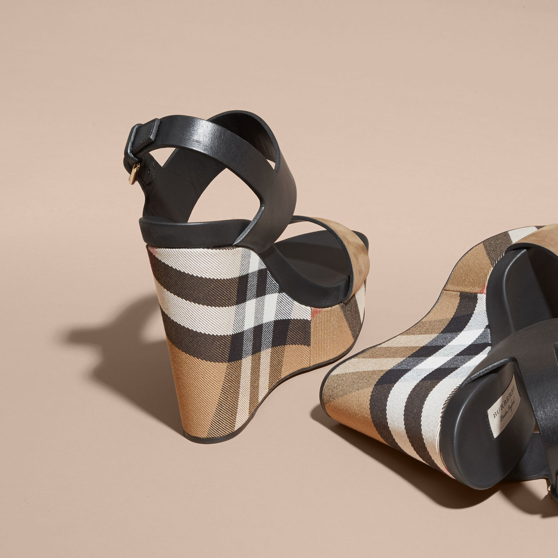 House Check Leather and Calf Suede Platform Wedges - Women | Burberry - gallery image 4