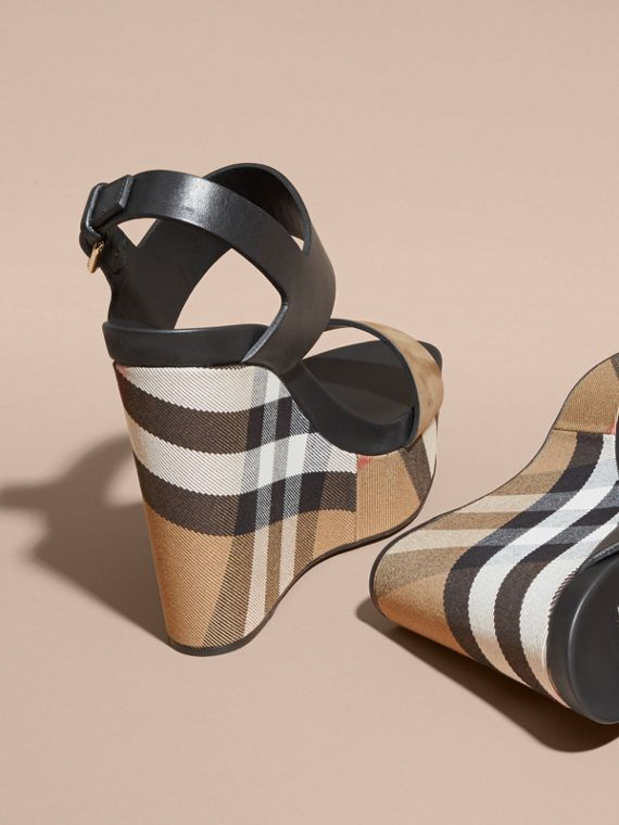 House Check Leather and Calf Suede Platform Wedges in Dark Heather Melange - Women | Burberry - cell image 3