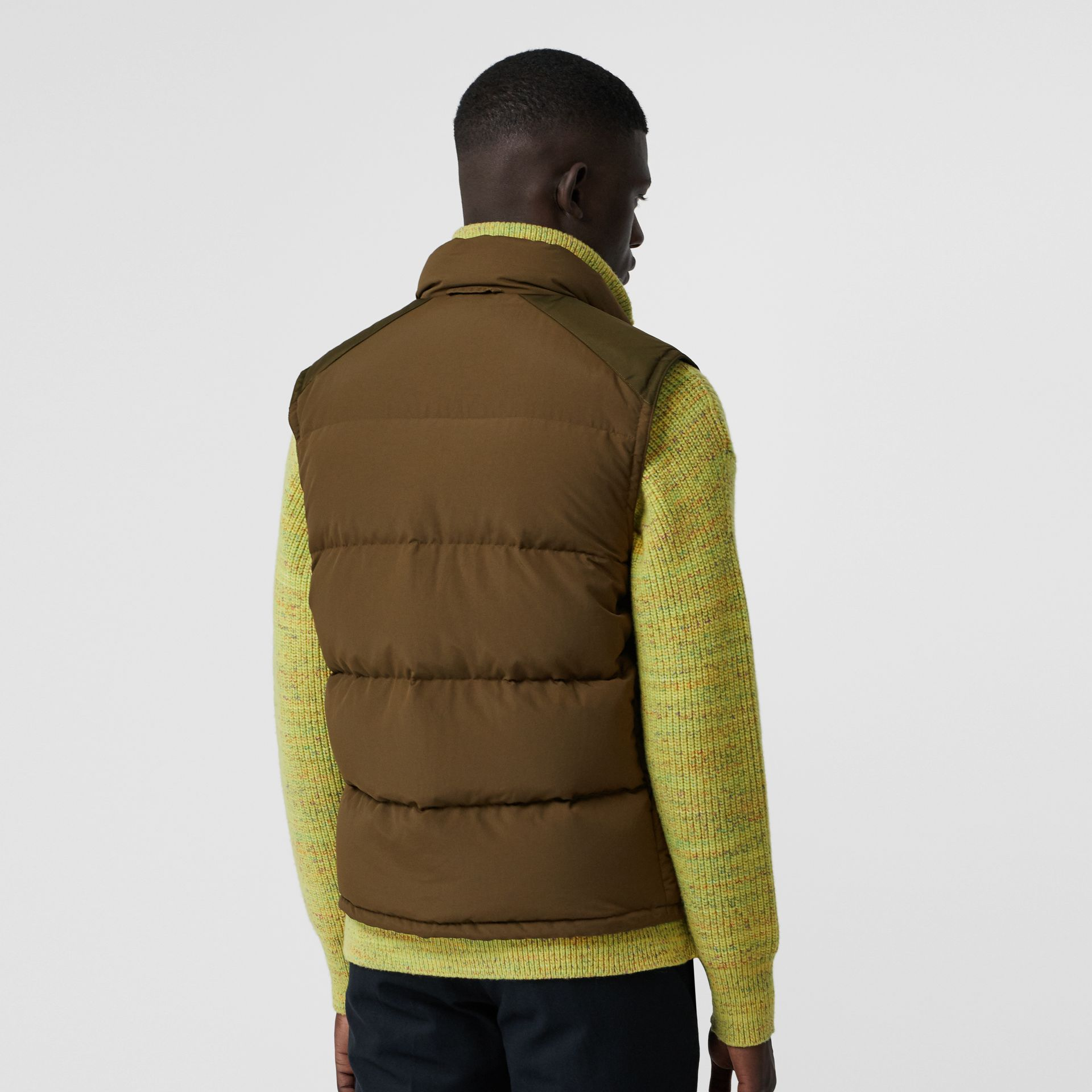 Embroidered Archive Logo Down-filled Gilet in Olive - Men | Burberry United Kingdom - gallery image 2
