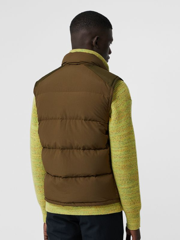Embroidered Archive Logo Down-filled Gilet in Olive - Men | Burberry - cell image 2