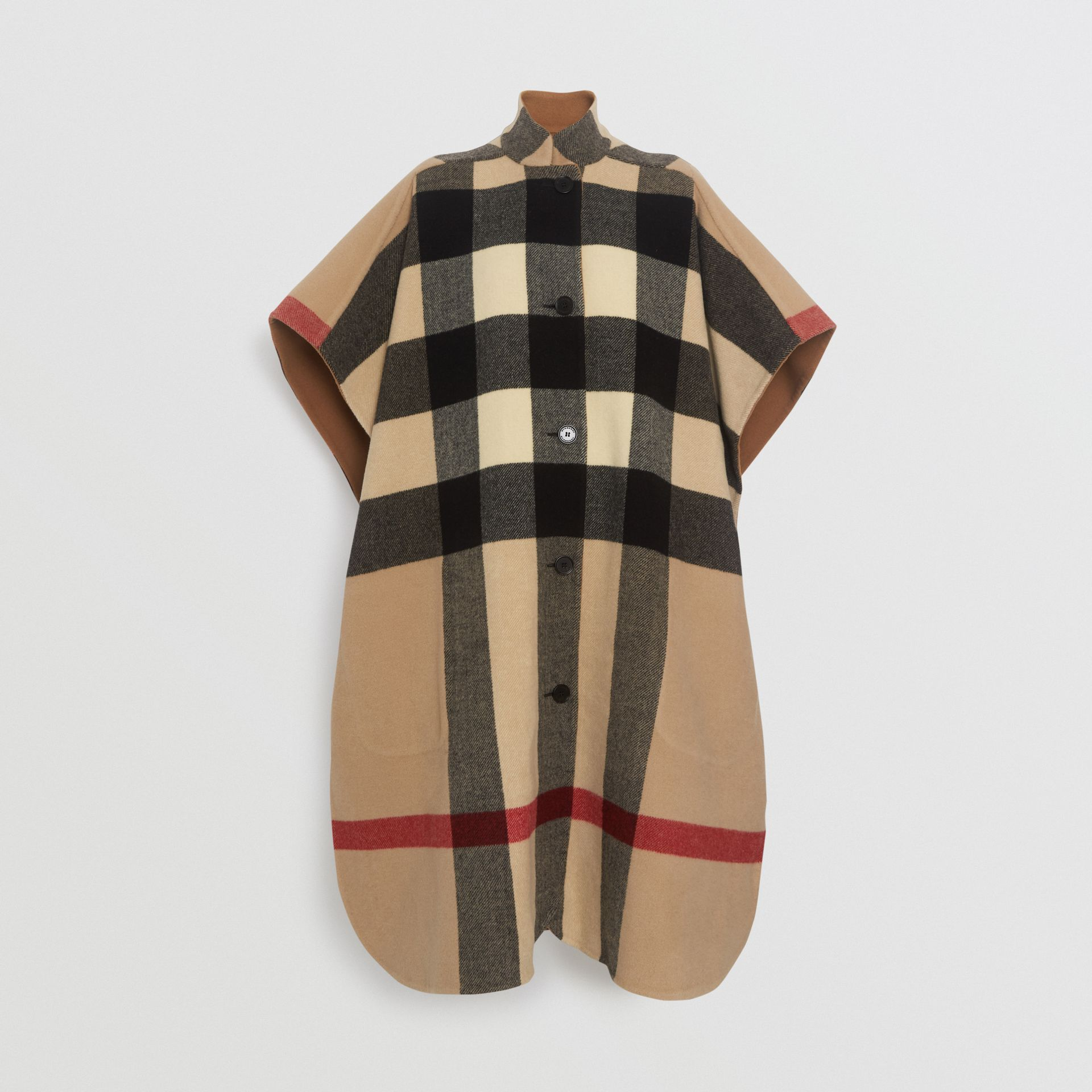 Reversible Check Wool Blend Poncho in Camel | Burberry Australia - gallery image 9