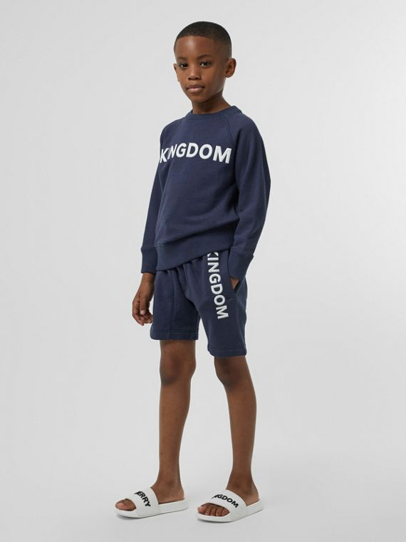 Kingdom Motif Cotton Sweatshirt in Slate Blue Melange