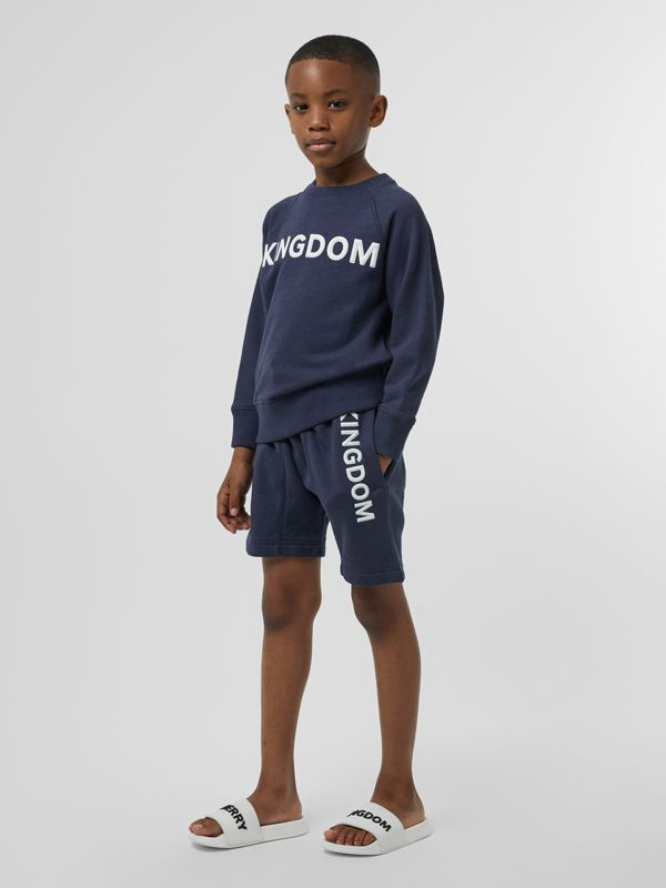 Kingdom Motif Cotton Sweatshirt in Slate Blue Melange | Burberry - cell image 2