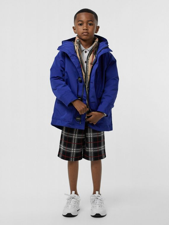 Hooded Coat with Detachable Icon Stripe Puffer in Bright Navy