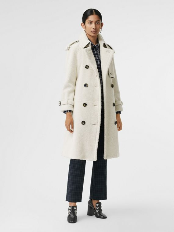 Tartan-lined Shearling Trench Coat in Off White