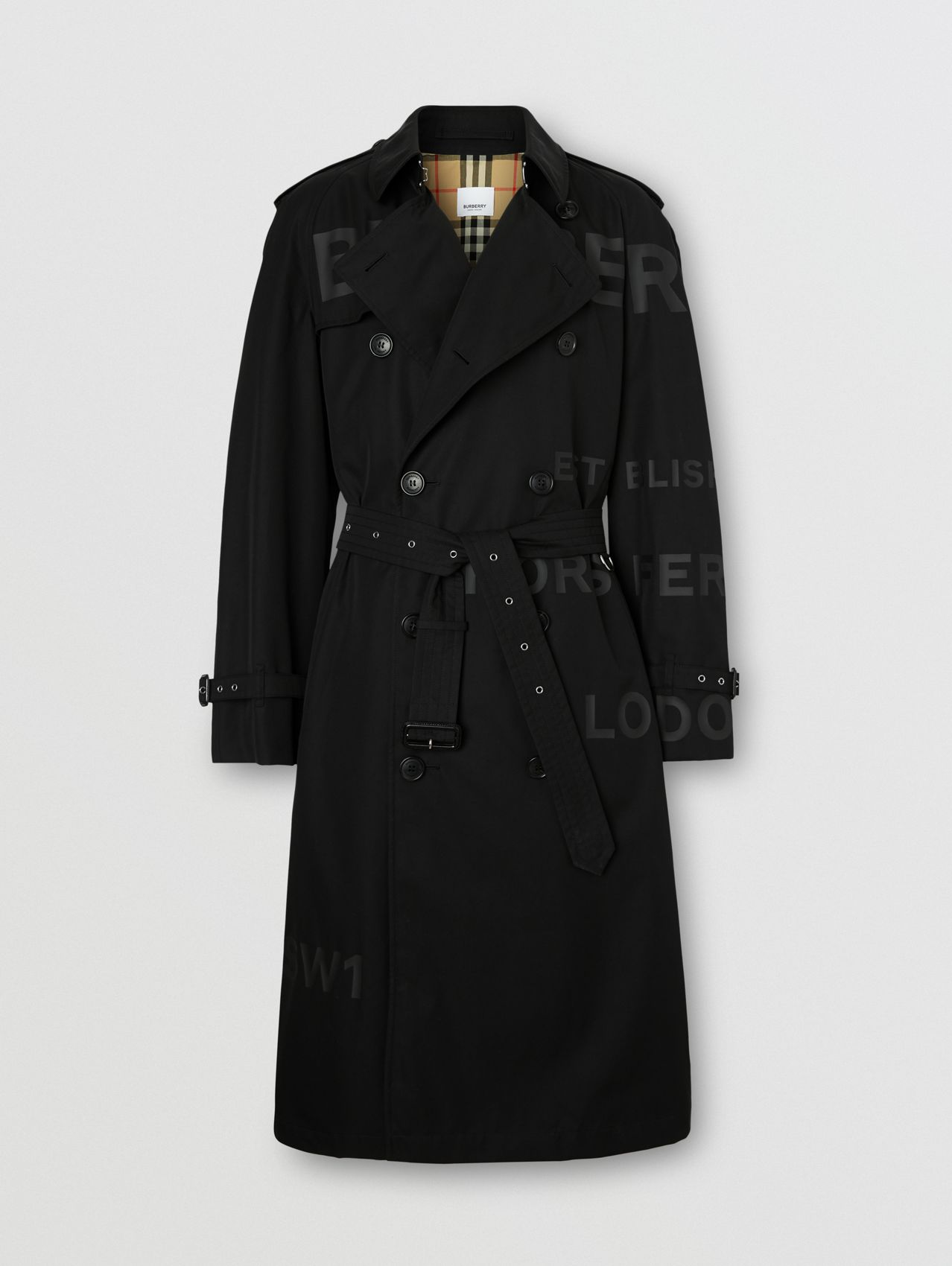 Trench coat de gabardine de algodão com estampa Horseferry in Preto