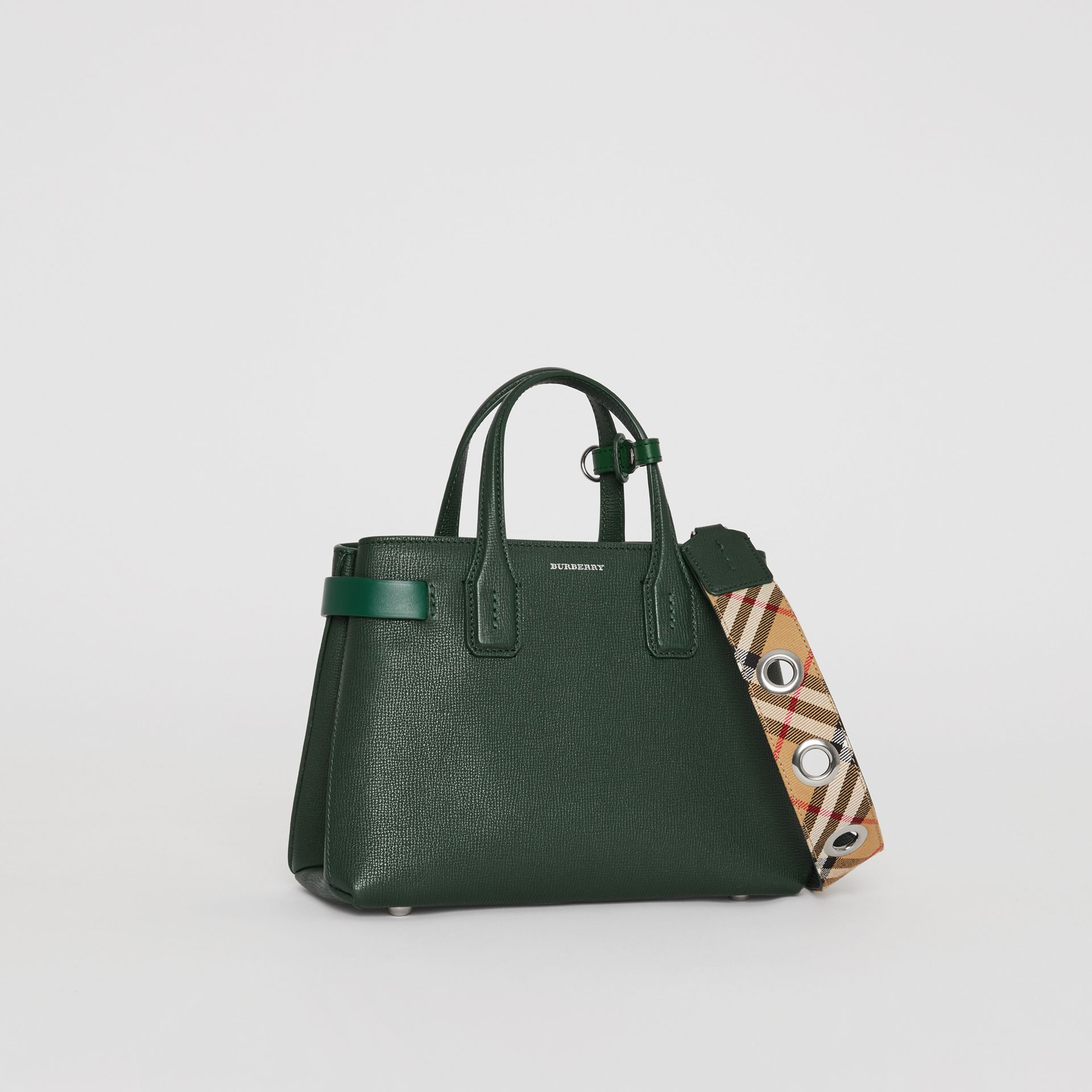 The Small Banner in Grainy Leather in Vintage Green - Women | Burberry - gallery image 4