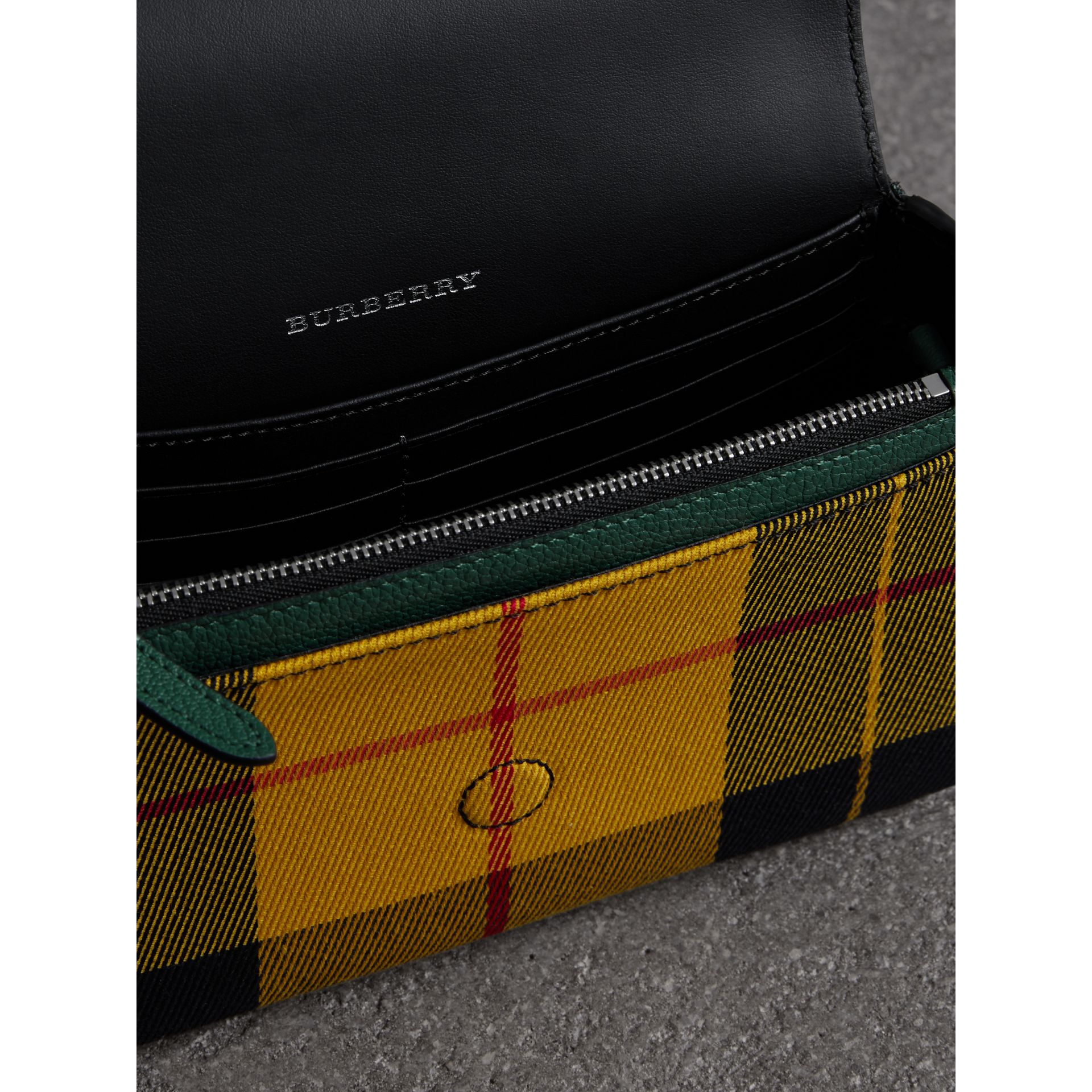 Tartan and Leather Wallet with Detachable Strap in Green/multicolour - Women | Burberry Australia - gallery image 4