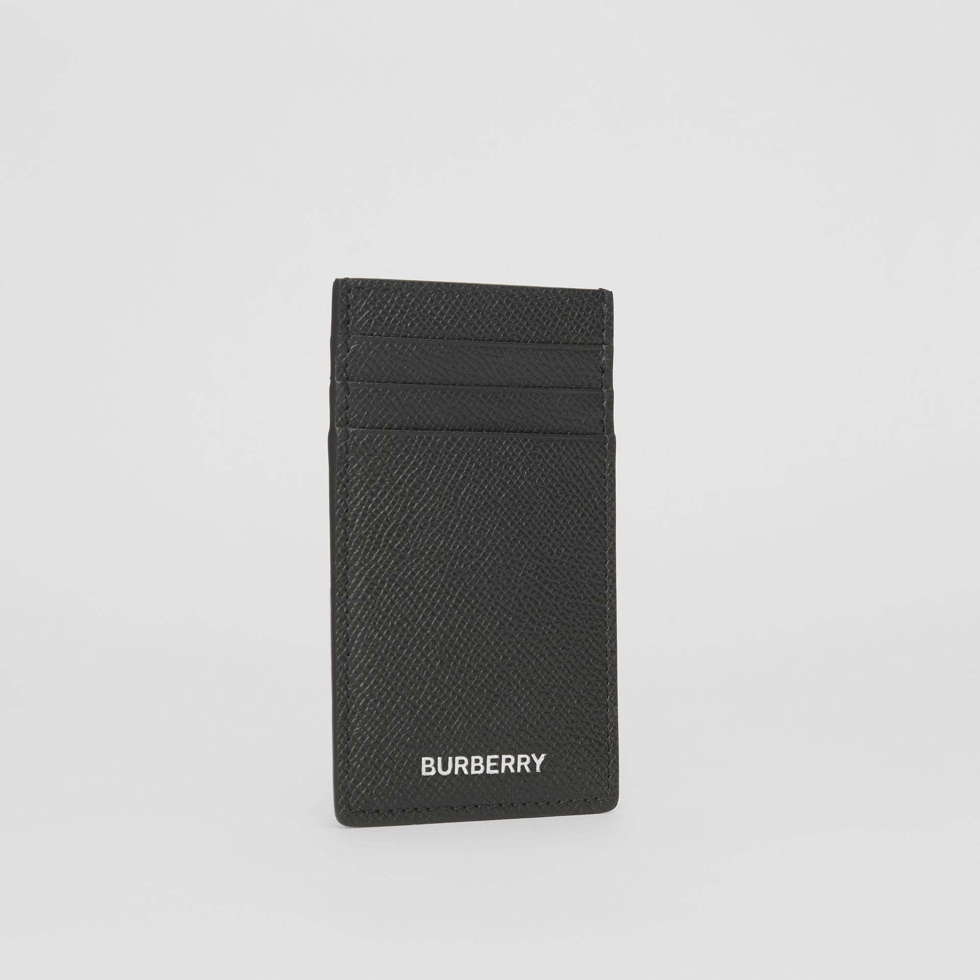 Grainy Leather Card Case in Black - Men | Burberry - gallery image 2