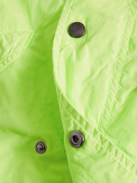 Detachable Hood Lightweight Parka Coat in Neon Yellow | Burberry - cell image 1