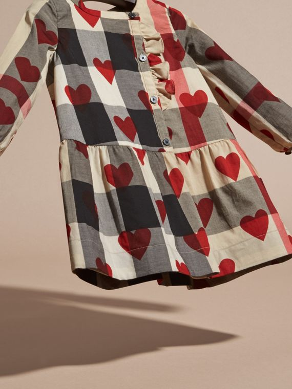 Parade red Heart and Check Cotton A-line Dress - cell image 2