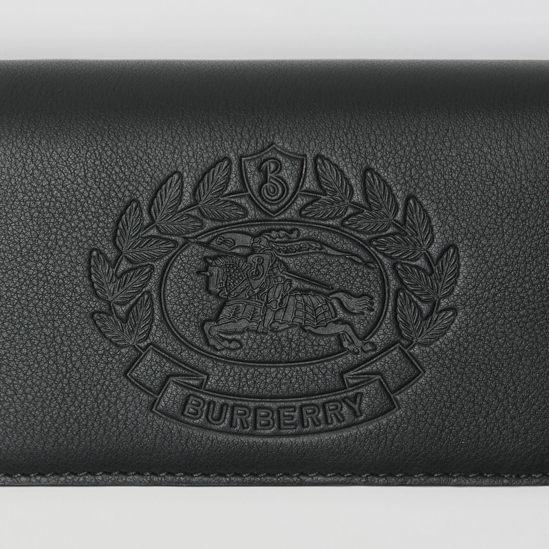 Small Embossed Crest Two-tone Leather Wallet in Black - Women | Burberry - gallery image 1