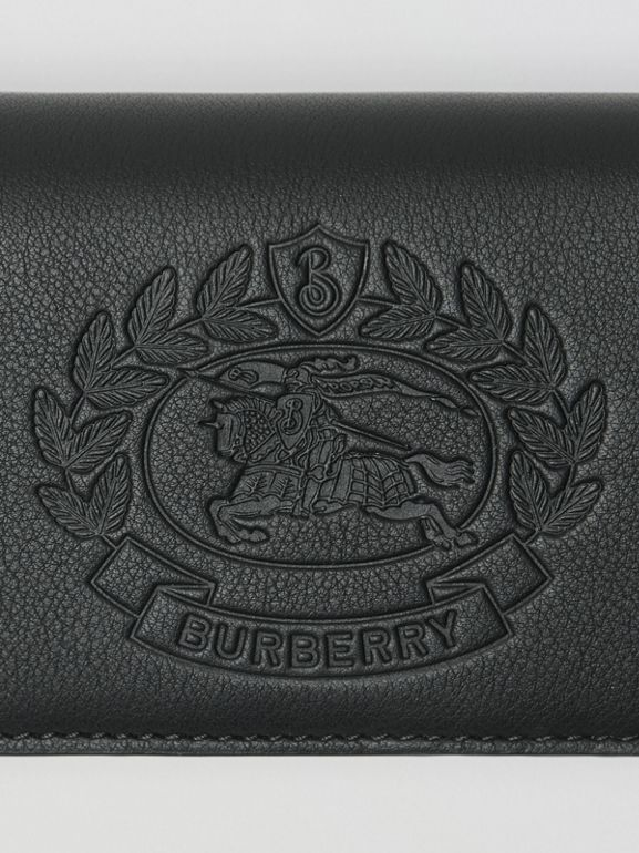 Small Embossed Crest Two-tone Leather Wallet in Black - Women | Burberry - cell image 1