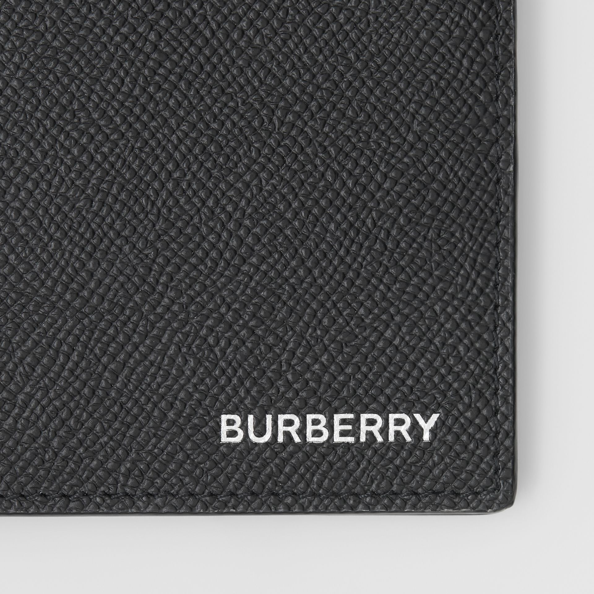 Grainy Leather International Bifold Wallet in Black - Men | Burberry Australia - gallery image 1