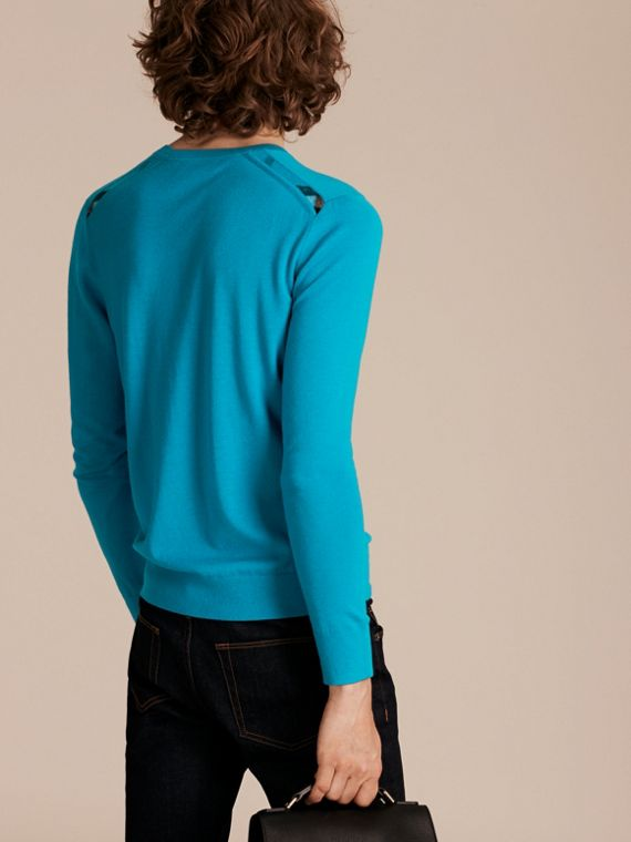 Bright mineral blue Lightweight Crew Neck Cashmere Sweater with Check Trim Bright Mineral Blue - cell image 2
