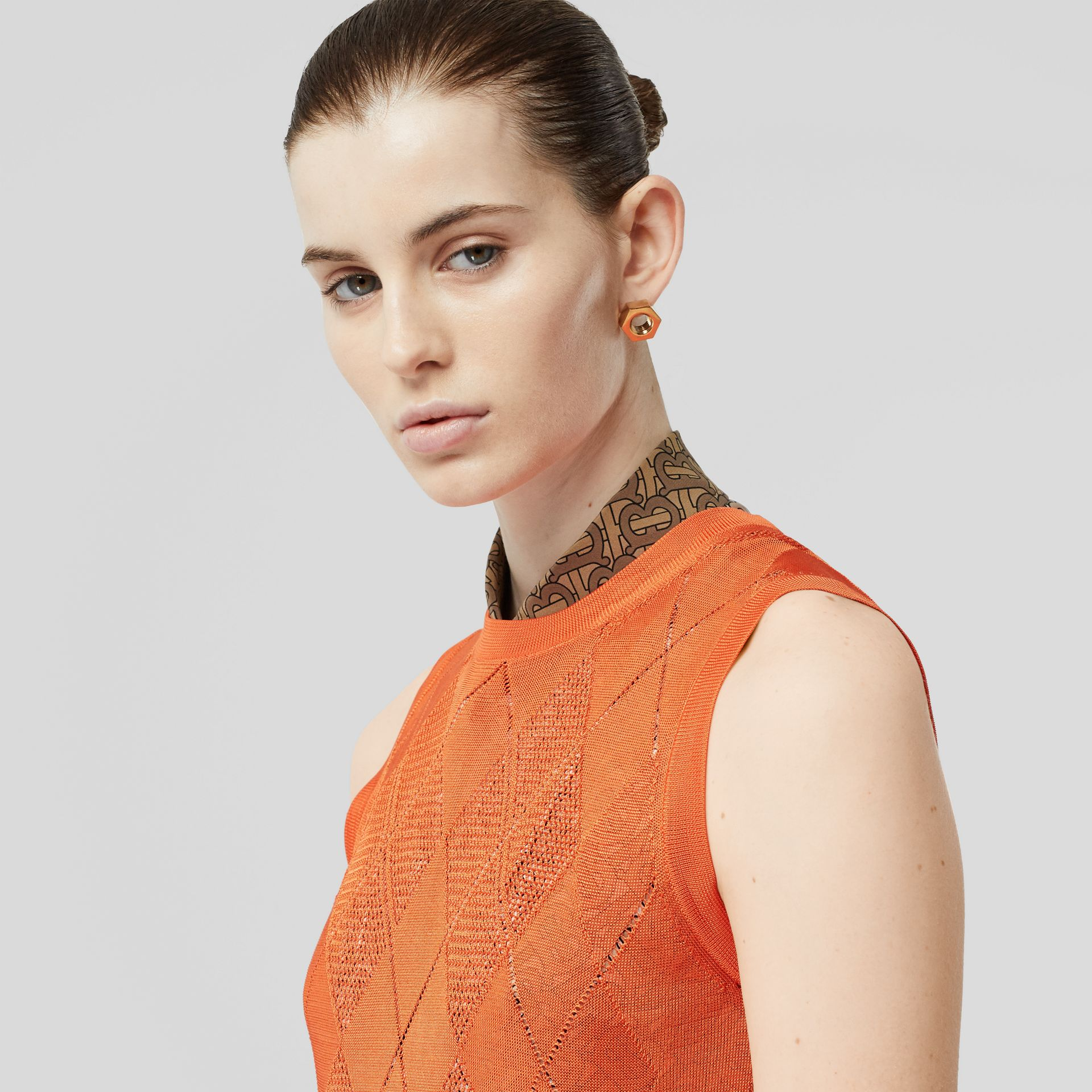 Monogram Motif Pointelle Knit Vest in Orange - Women | Burberry - gallery image 1