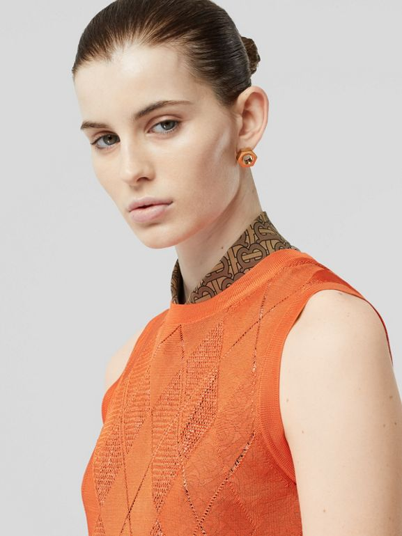 Monogram Motif Pointelle Knit Vest in Orange - Women | Burberry Singapore - cell image 1