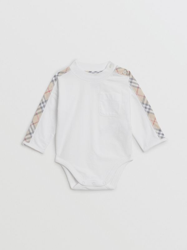 Check Cotton Three-piece Baby Gift Set in White - Children | Burberry Singapore - cell image 2