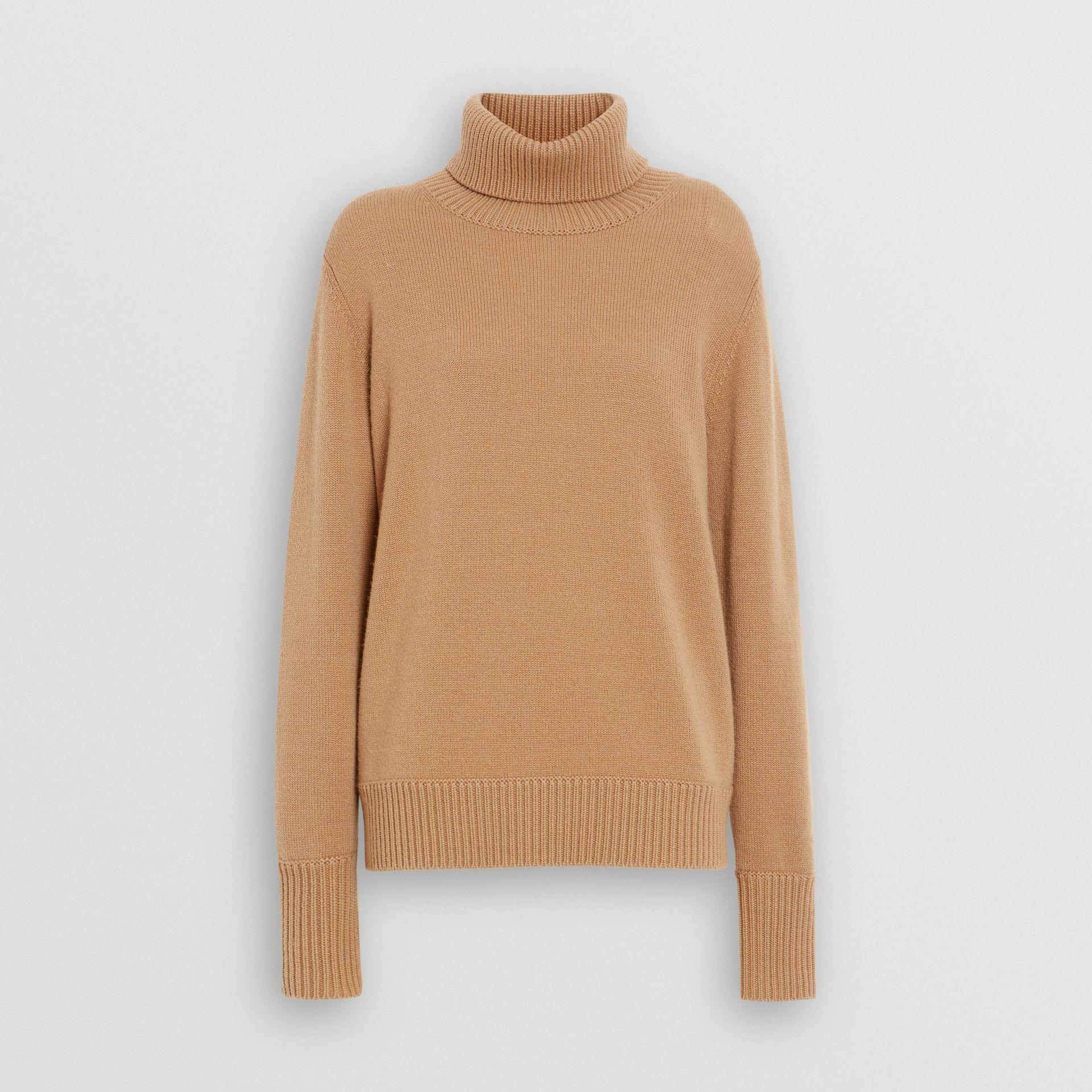 Embroidered Crest Cashmere Roll-neck Sweater in Camel - Women | Burberry United Kingdom - gallery image 3