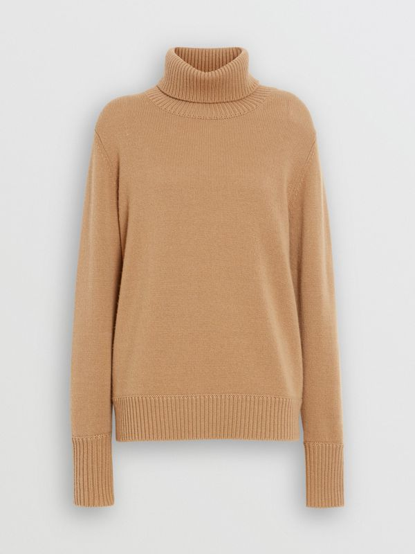 Embroidered Crest Cashmere Roll-neck Sweater in Camel - Women | Burberry - cell image 3