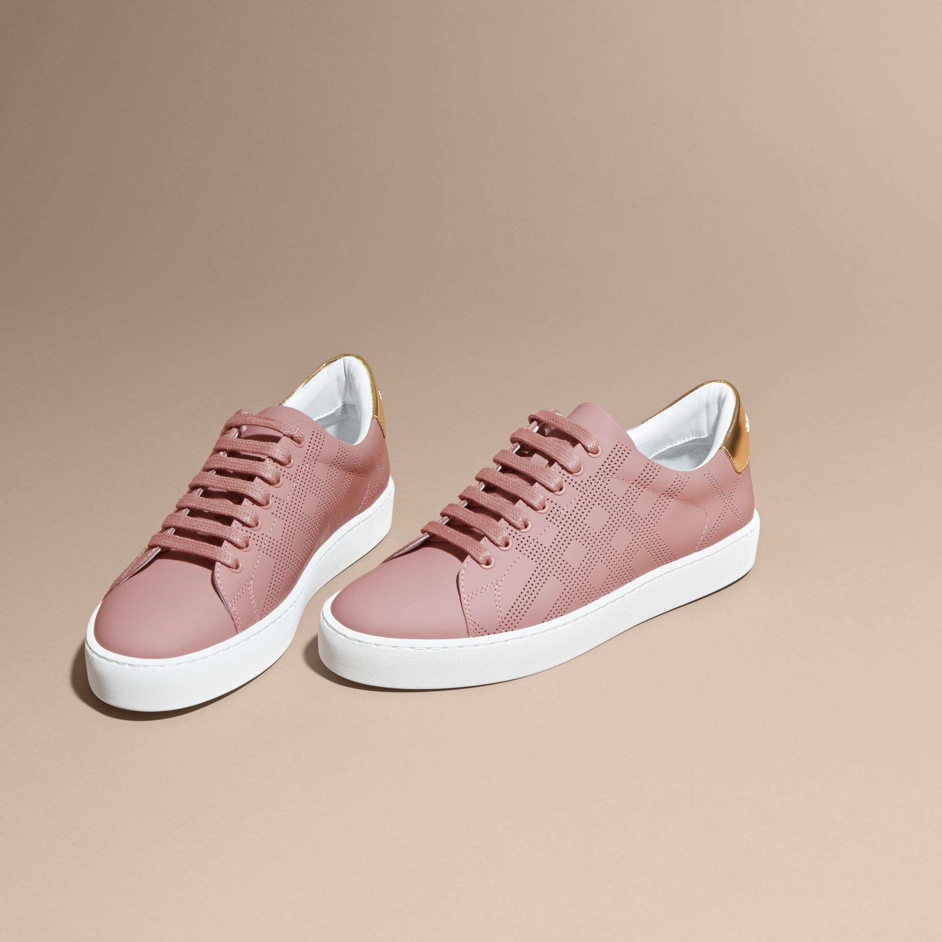 Perforated Check Leather Trainers Rose Pink - gallery image 3
