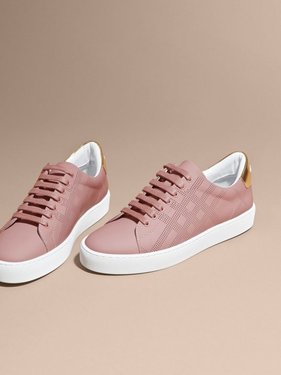 Perforated Check Leather Trainers Rose Pink - cell image 2
